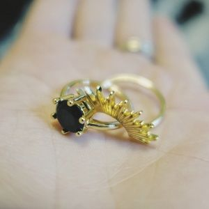 Jewelry - Obsidian Stacking Ring Bundle